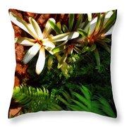 White Maui Flowers Throw Pillow