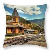 White Mountans Crawford Train Depot Throw Pillow