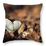 White Mushroom Long Gills Throw Pillow