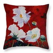 White On Red Poppies Throw Pillow