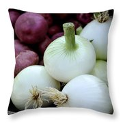 White Onions And Red Potatoes Throw Pillow by Julie Palencia