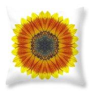 Orange And Yellow Sunflower I Flower Mandala White Throw Pillow