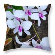 White Orchid Cluster With Hot Pink Throw Pillow