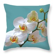 White Orchids On Ocean Blue Throw Pillow