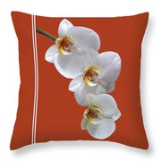 White Orchids On Terracotta Vdertical Throw Pillow