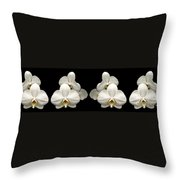 White Orchids Panorama Throw Pillow