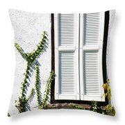 White Painted Shutter Throw Pillow