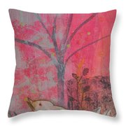 White Peace Bird On Pink Throw Pillow