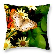 White Peacock Butterfly I I I Throw Pillow