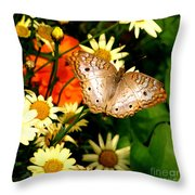White Peacock Butterfly I V Throw Pillow