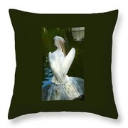 White Pelican Back Throw Pillow