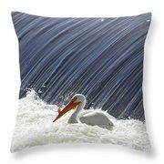 White Pelican Over The Dam Throw Pillow
