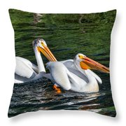White Pelicans Fishing For Trout Throw Pillow by Kathleen Bishop
