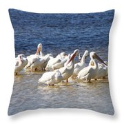 White Pelicans On Sanibel Island Throw Pillow