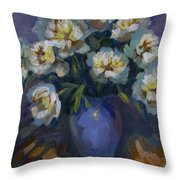 White Peonies Throw Pillow