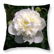 White Peony Watercolor Effect Throw Pillow