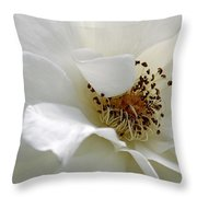 White Petals Throw Pillow