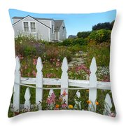 White Picket Fence In Mendocino Throw Pillow