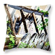 White Picket Fence Throw Pillow