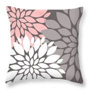 White Pink Gray Peony Flowers Throw Pillow