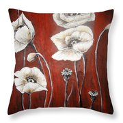 White Poppies Throw Pillow by Elena  Constantinescu