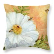 White Poppy And Bees Throw Pillow