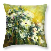 White Poppy Garden II Throw Pillow