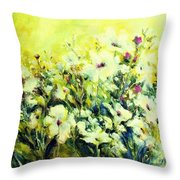 White Poppy Garden Throw Pillow