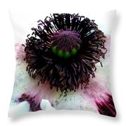 White Poppy Macro Throw Pillow