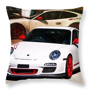 White Porsche Gt3rs Throw Pillow