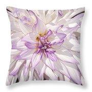 White Purple Dahlia Throw Pillow
