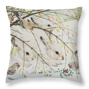 White Rabbits Throw Pillow