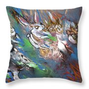 White Rabbits On The Run Throw Pillow