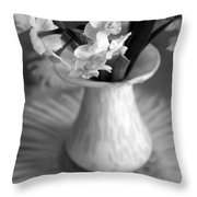 White Rays And Flowers Throw Pillow