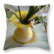 White Rays And Narcissus Throw Pillow