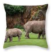 White Rhino 11 Throw Pillow