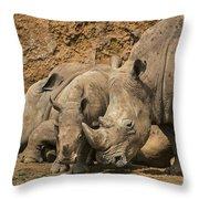 White Rhino 3 Throw Pillow