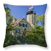 White River Lighthouse In Whitehall Michigan No.057 Throw Pillow