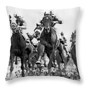 White River With Jockey Tommy Barrow Throw Pillow