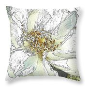 White Rose Abstract Throw Pillow