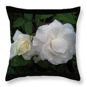 White Rose And Raindrops Throw Pillow