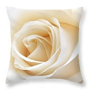 White Rose Heart Throw Pillow