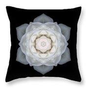 White Rose I Flower Mandala Throw Pillow