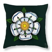 White Rose Of York Throw Pillow