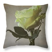 White Rose With Old Paper Texture Throw Pillow