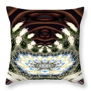 White Roses And Babys Breath Polar Coordinates Effect Throw Pillow