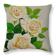 White Roses - Vertical Throw Pillow by Carol Sabo