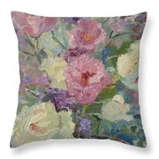 White Roses And Statice Throw Pillow
