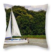 White Sailboat Throw Pillow