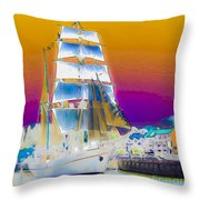 White Sails Ship And Colorful Background Throw Pillow